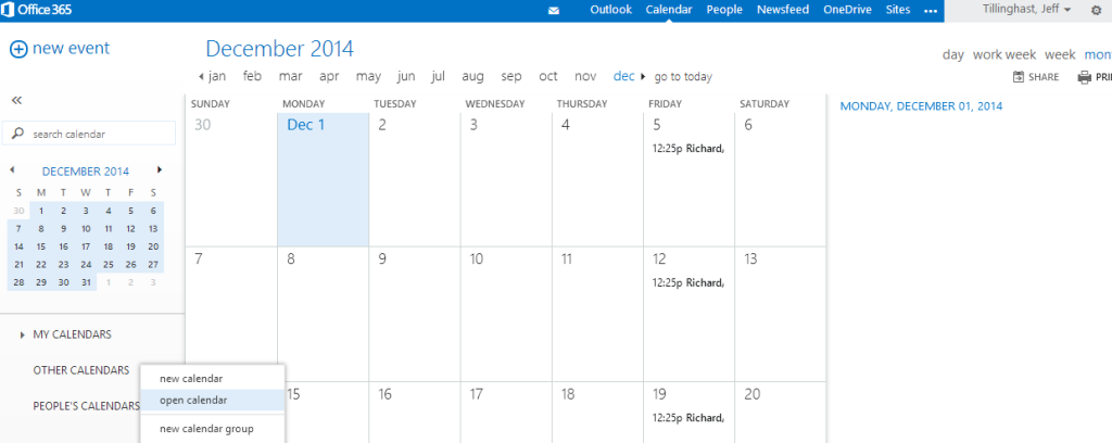 """Right-click (or touch-and-hold) on """"Other Calendars"""" to bring up """"Open Calendar"""""""