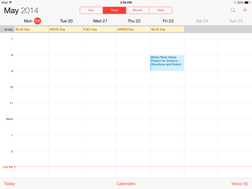 iPad Calendar App showing Color Days and a Schoology Assignment Due Date