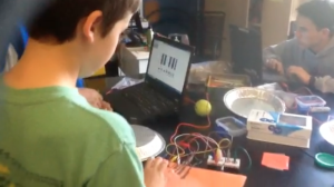 Students with their MaKey MaKey piano
