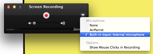 Turn on your built-in microphone in QuickTime Player to record your voice